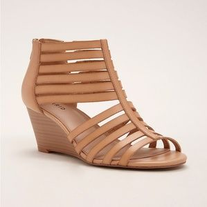 Torrid Tan Strappy Stacked Mini Wedges Size 10W